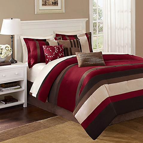 Madison park boulder stripe 7 piece comforter set in red - Bed bath and beyond bedroom furniture ...