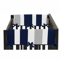 Sweet Jojo Designs Navy Blue and Gray Stripe Side Crib Rail Guard Covers