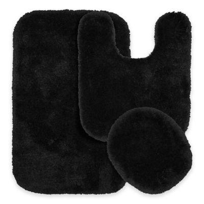 Finest Luxury 3 Piece Bath Rug Set In Black
