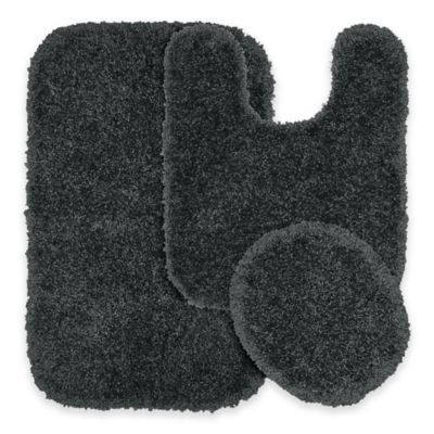 Serendipity 3 Piece Nylon Bath Rug Set In Dark Grey