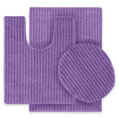 Sheridan 3 Piece Nylon Bath Rug Set In Purple