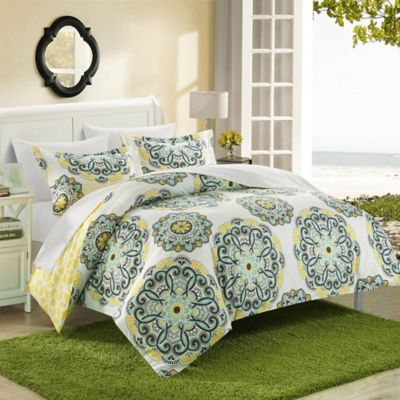 Chic Home Majorca 7-Piece Reversible King Duvet Cover Set in Yellow