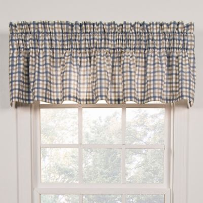 buy blue plaid valance from bed bath & beyond