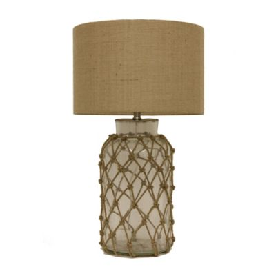 Décor therapy seeded glass rope net table lamp with burlap shade