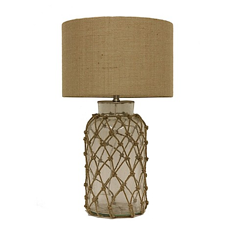 Buy D Cor Therapy Seeded Glass Rope Net Table Lamp With Burlap Shade From Bed
