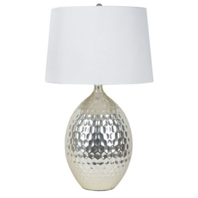 Buy silver lamp shade from bed bath beyond dcor therapy hammered ceramic table lamp in silver with white fabric shade mozeypictures Gallery