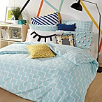 Scribble Zig-Zag Reversible Twin Comforter Set in Aqua
