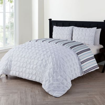 vcny brielle queen duvet cover set in white