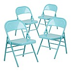 Flash Furniture Hercules Metal 4-Pack Folding Chairs in Teal