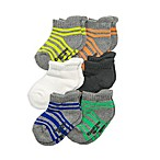OshKosh B'gosh® Size 3-12M 6-Pack Striped Ankle Socks in Grey