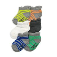 OshKosh B'gosh® Size 2-4T 6-Pack Striped Ankle Socks in Grey