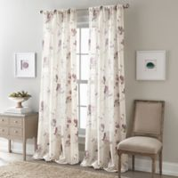 Zen Floral 63-Inch Rod Pocket Semi-Sheer Window Curtain Panel in Purple