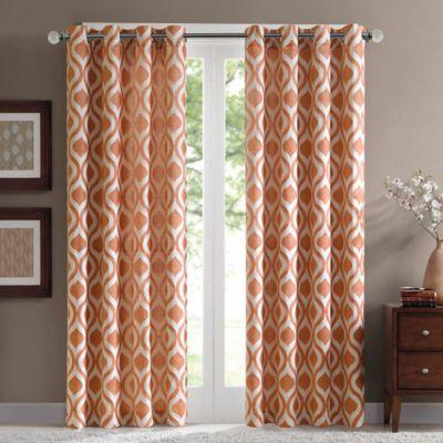 Madison Park Verona 84 Inch Grommet Top Window Curtain Panel In Orange