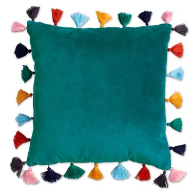 Velvet Tasseled 16 Inch Square Throw Pillow In Teal