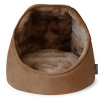 Precious Tails Micro Mink Round Hooded Dome Pet Bed in Brown