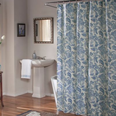 M.style Valencia Shower Curtain In Blue  Blue Floral Curtains