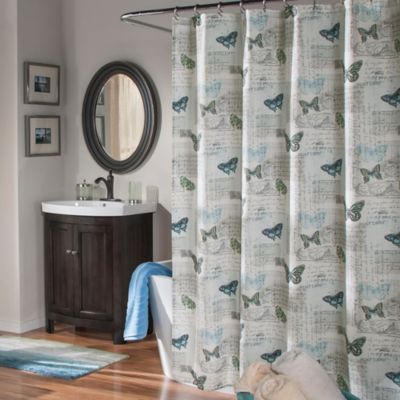 Air Mail Shower Curtain In Blue