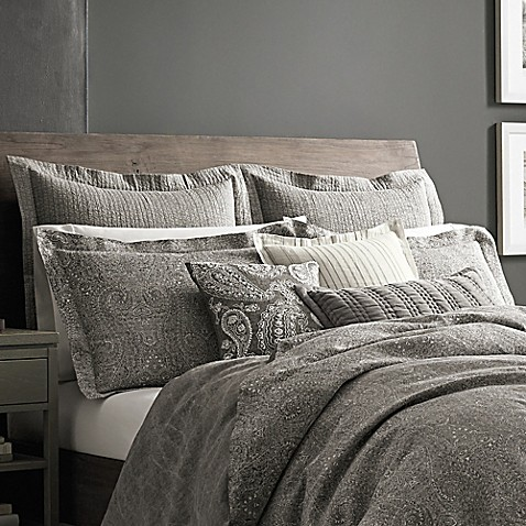 Wamsutta 174 Vintage Paisley Linen Pillow Sham In Grey Bed