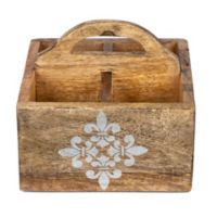 Gerson Fleur de Lis Screen Print Wood Caddy in Mango