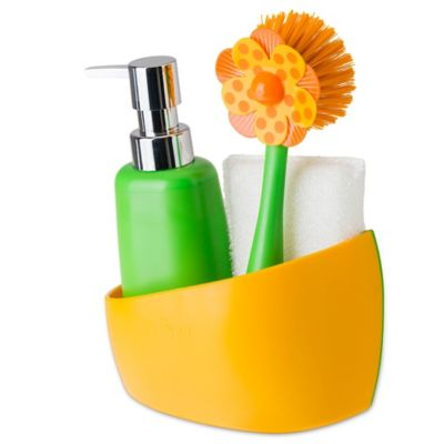 Sink Side Set Soap Dispenser With Caddy In Orange