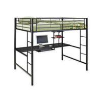 Walker Edison Sunset Full Loft Bed Over Workstation in Black