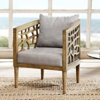 INK+IVY Crackle Lounge Chair in Light Grey