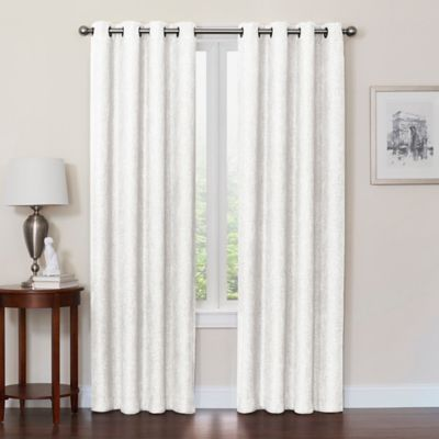 Buy Boucle 108 Inch Grommet Top Room Darkening Window Curtain Panel In White From Bed Bath Beyond