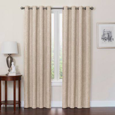 quinn 108inch grommet top window curtain panel in linen - Blackout Curtain