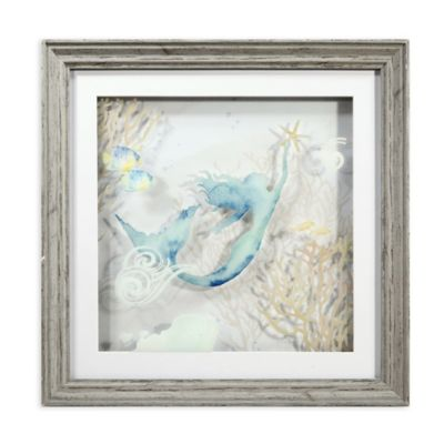 3D Mermaid Multi Layered Glass Shadow Box Wall Art