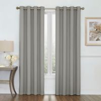 Boucle 84-Inch Grommet Top Room Darkening Window Curtain Panel in Grey