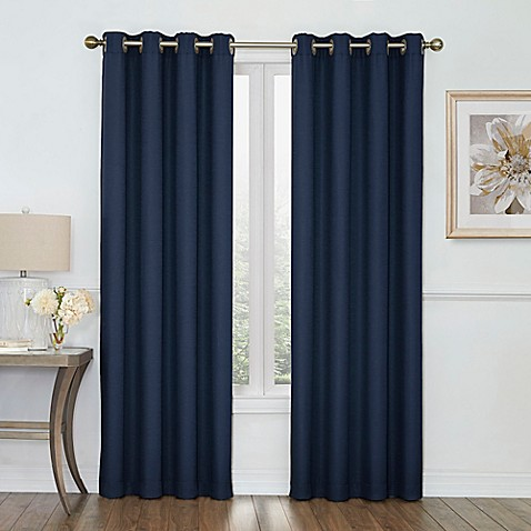 Boucle grommet top room darkening window curtain panel bed bath beyond for Bed bath and beyond curtains for living room