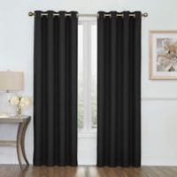 Boucle 63-Inch Grommet Top Room Darkening Window Curtain Panel in Black