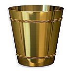 Beaded Metal Wastebasket in Champagne Gold