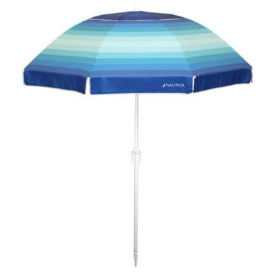 Beach Umbrella In Blue Ombre Stripes