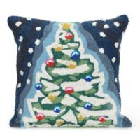 Liora Manne Frontporch Christmas Tree Square Indoor/Outdoor Throw Pillow in Navy