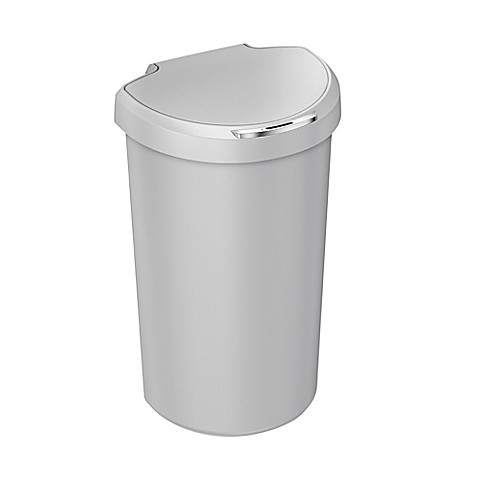 simplehuman plastic 40 liter semi round sensor trash can in black bed bath beyond. Black Bedroom Furniture Sets. Home Design Ideas