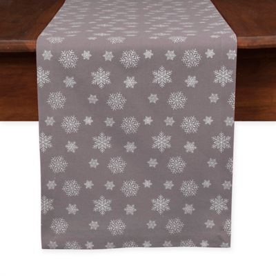 Snowfall 90 Inch Table Runner In Pewter