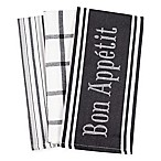 Bon Appetit Kitchen Towels in Black (Set of 3)