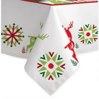 Laural Home Geometric Christmas 60-Inch x 120-Inch Tablecloth