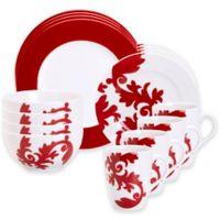 Euro Ceramica Calarama 16-Piece Dinnerware Set in Red/White