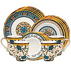Euro Ceramica Duomo 16-Piece Dinnerware Set in Blue/Yellow