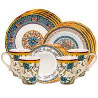 Euro Ceramica Duomo 16-Piece Dinnerware Set in Blue/Yellow