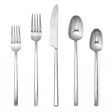 image of Artisanal Kitchen Supply® Edge 20-Piece Flatware Place Setting in Satin