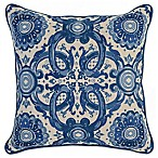Villa Home Grandeur Square Throw Pillow in Blue/Ivory
