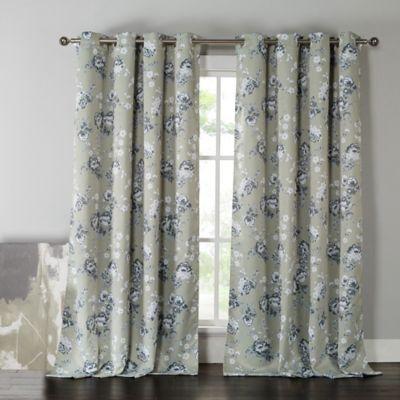 Lovely Kensie Nelliebee 84 Inch Thermal Room Darkening Grommet Top Window Curtain  Panel Pair In