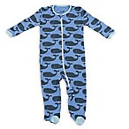 Silkberry Baby® Size 0-3M Zip-Front Whale Footie in Blue