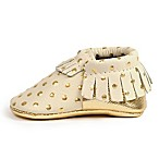 Freshly Picked Size 0-6M Moccasins in Cream with Gold Dots