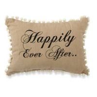 "Park B. Smith ""Happily Ever After"" Oblong Throw Pillow in Black/Linen"