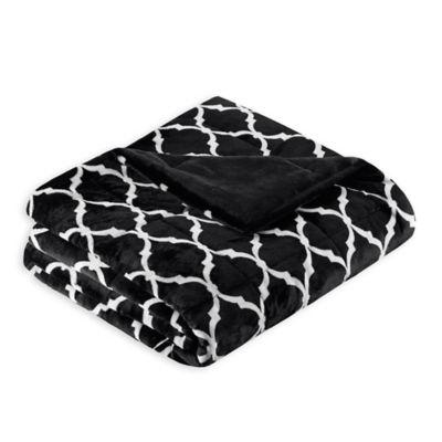 madison park ogee oversized throw blanket in black