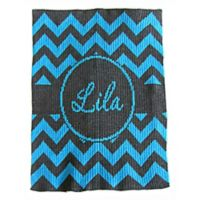 Chevron with Banner Stroller Blanket in Charcoal